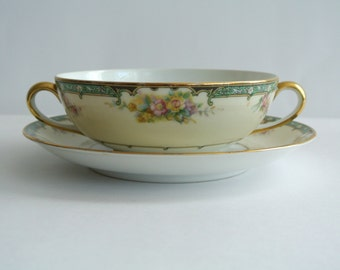 "TWO (2) Antique Noritake ""M"" Cream Soup Bowls/Broth Bowls-Estelle Pattern & One (1) Saucer"