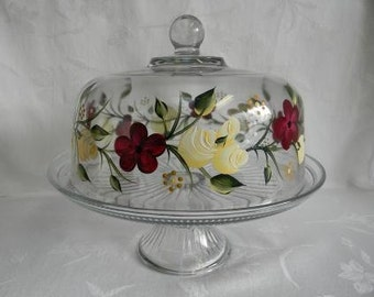Cake dish, hand painted cake dish,painted roses,Punch bowl, painted flowers, glass cake dish, domed cake dish