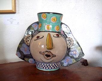 Whimsical Egyptian Head Vase ~ David & Gloria Pozniak ~ Oregon Potters