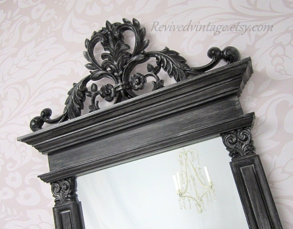 Black framed hollywood regency mirror for sale mantel for Fancy wall mirrors for sale