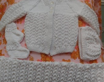 KNITTED BABY LAYETTE, white, unisex, 6 to 12 months, hand knitted, 5 piece set,, in a soft, baby  sports yarn