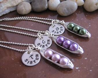 SALE Item - Peas in a Pod - set of 3 necklaces - Custom Necklace Set - Sister Necklace Set - Bridesmaids Necklace - Best Friends Necklace