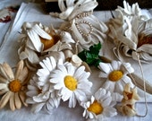 12pc Antique Millinery Flowers Old Shabby & Wonderful collection wax, linen and cotton flowers Vintage Wedding Mrs Haversham Antique Dolls