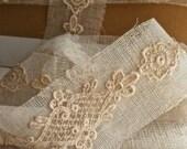 """35"""" Wonderful Vintage Appliques Antique Lace French Ecru Aplliques on Net Wedding Supplies Downton Abbey"""