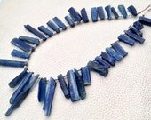 Brand New, Full 8 Inch Strand,15-30mm Long, Amazing Natural BLUE KYANITE Hammered Rock Nuggets TIP Drilled ,Amazing Rare Item