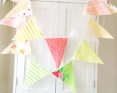 Bunting, Banner, Pennant Fabric Flags, Green, Peach, Yellow, Coral, Wedding Decor, Photo Prop, Baby Nursery Decor, Birthday Party, Bridal