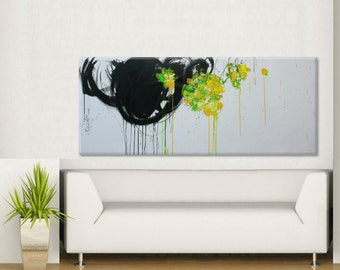 Contemporary Abstract Painting-Summer- extra Large Original Painting on canvas landscape 60x24 Elena