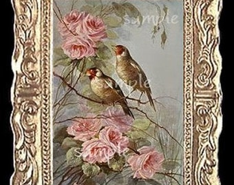 Song Birds and Roses Miniature Dollhouse Picture 1199
