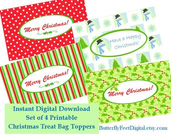 Printable Christmas Treat Bag Toppers, Party Supplies, Instant Digital Download, Set of 4, Holiday Party Papers