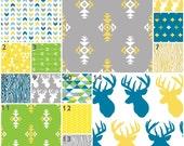 Deer in Citrus (Custom Crib Set) Baby Bedding, Crib Bedding, Antlers, Stag, Aztec, Tribal, Wood Grain, Arrows, Triangles