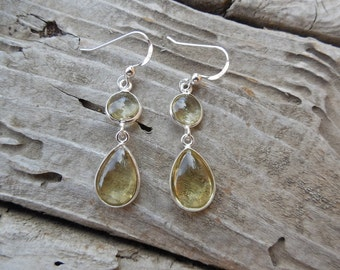 Lemon quartz earings handmade in sterling silver 925
