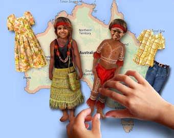 Magnetic paper doll (indigenous Australian) set of two dolls