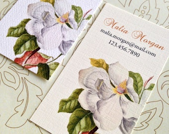 Custom Business Cards, Printed Business Cards, Magnolia, Set of 50