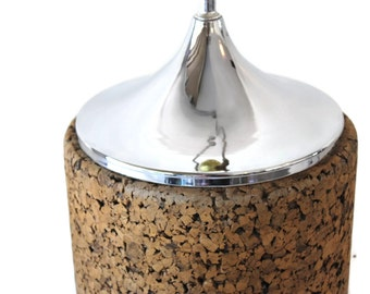 Vintage Cork and Chrome Table Lamp