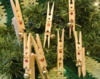 Vintage Handmade Christmas Ornament Clothes Pin Reindeer Gift For Her