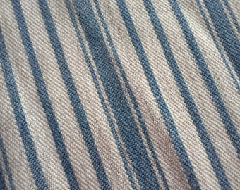 Antique Primitive Blue Mattress Ticking- Stripe Loose Weave Fabric ~ Dolls Clothes Projects- Half Yard