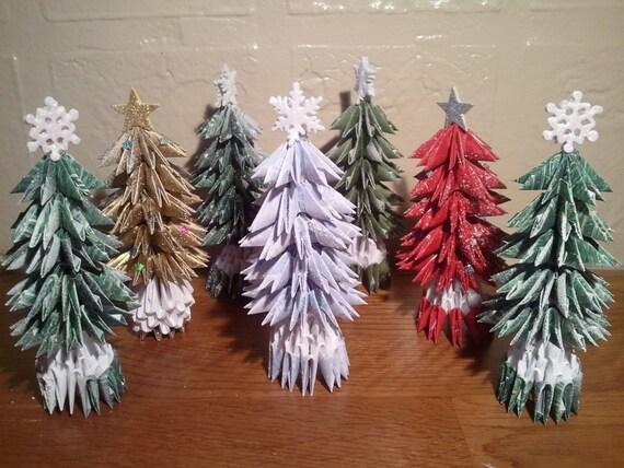 3d origami petit arbre de no l avec de la neige - Arbre de noel origami ...