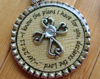 Jeremiah 29 11 I know the plans I have for you... cross silver word quote scripture necklace pendant with chain