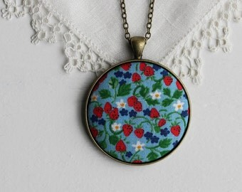 Strawberry Necklace Vintage Fabric Jewelry Spring Floral Jewelry Vintage Strawberry Fabric Garden Blue and Red Strawberries Kitchen