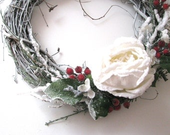 Door Wreath Woodland Frost, with White Rose and Red Berries, Twig Wreath Christmas