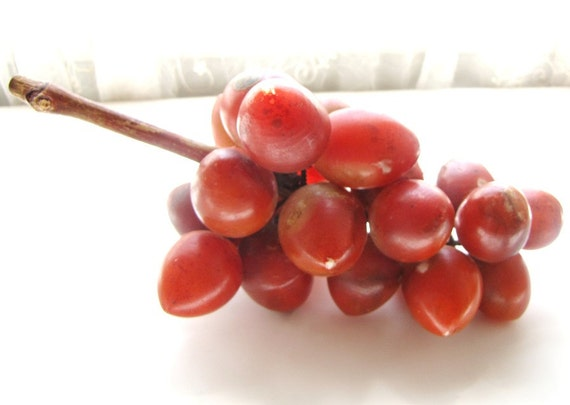 Red Alabaster Stone : Vintage italian alabaster stone hand carved red by allieetcie