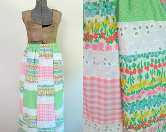Vintage Patchwork Maxi Skirt Eyelet Gingham Dotted Swiss Floral The Talbots 1960s 1970s Preppy Boho Chic