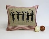 Rabbit Screen Print Pillow over Red Ticking Stripe