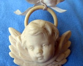 Antique Large Celluloid Guardian Angel Crib Ornament Excellent Condition- Rare find!