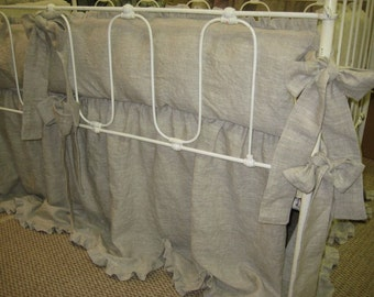 "Washed Medium Weight Oatmeal Linen Nursery Bedding-1"" Ruffled Bumpers and 1"" Ruffled Crib Skirt-Ruffled Nursery Linens"