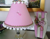 Sweet Pink Linen with Butterflies Lamp Shade