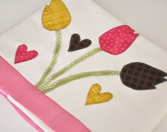 Personalized Organic Baby Blanket with Tulips -- Pink, Gold and Chocolate Brown Flowers - Spring Baby Gift
