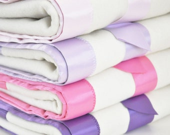 Personalized Organic Baby Girl Blanket -- Pink or Purple