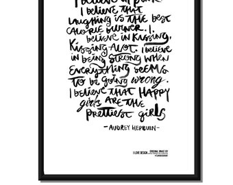 Classic Quote By Audrey Hepburn  -  Typographic Monochrome Inspiring Print, size A3