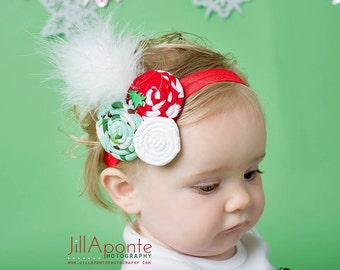Red green and white rolled fabric rosette w/white feathers newborn baby infant girl toddler on a red shimmery elastic headband
