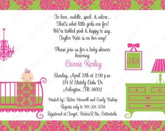 10  PRINTED Damask Girl Baby Shower Invitations with Envelopes.  Free Return Address Labels