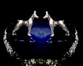 Doberman Pinscher Dog Stud Earrings Sterling Silver Free Domestic Shipping