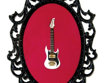 Miniature Guitar in Victorian Frame - Wall Art Decor 7x10in