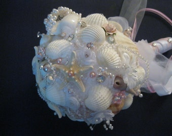 Seashell Beach Bride Bouquet - Sea Urchin, Starfish, and Pearls
