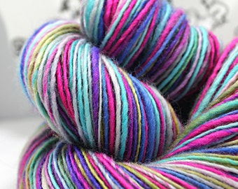 Handspun Yarn Gently Thick and Thin DK Single Blue Faced Leicester 'Funky Guru'