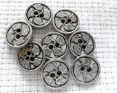Flat Silver Metal Buttons, Small Sew through Buttons. 10 in lot, Leaf Metal Buttons. buttons with leaves, 12mm, silver flat, 2 hole