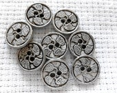 Vintage Metal Buttons ~ Silver Metal / Pewter Small Buttons - 2 Hole ~ Sew through Buttons - 8 in lot - Solid Silver Leaf Metal Buttons