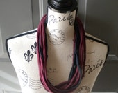 Jersey Scarf Necklace in Burgundy and Black