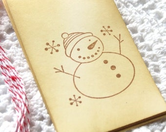 CIJ SALE Snowman Handstamped Tags 6pcs