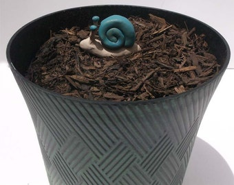 Turquoise and Gold Snail Garden Decor