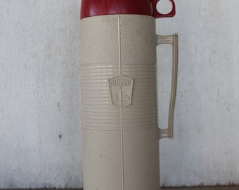 Vintage Red and Tan Thermos