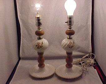 White Milk Glass Dresser Lamps matching Pair