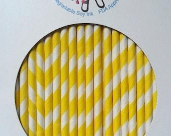 Yellow Stripe Paper Straws  Box of 144