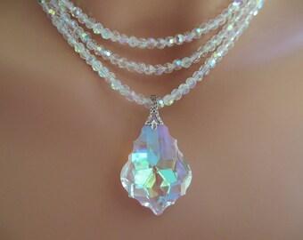 Crystal Bridal Necklace and Earring Set 3-Strand Aurora Borealis Pendant Wedding Jewelry Bridal Jewelry Teardrop Shaped Crystal Earrings