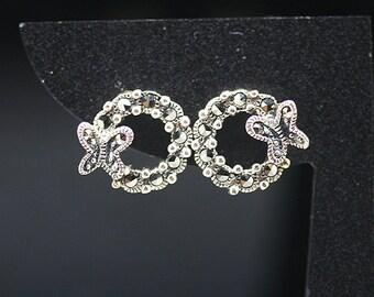 1pair(te-0049) -sterling silver earrings with marcasite