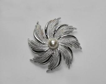 HALF OFF Swirly Sunburst Silver and Pearl Brooch